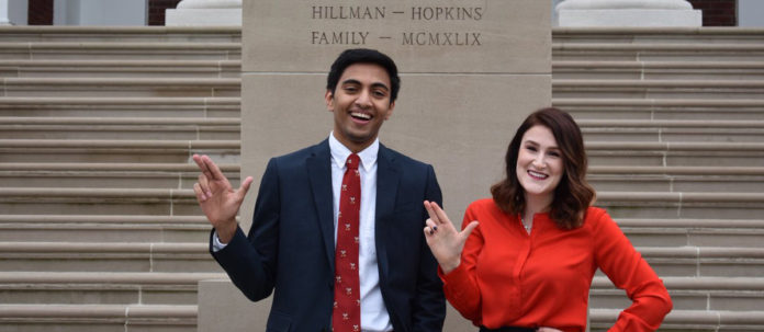 Vishnu Tirumala and Sarah Love were elected president and executive vice president for the Student Government Association during the recent election.